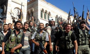 Syrian rebels flash 'victory signs' in Aleppo