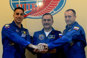 Soyuz TMA-O8M spaceship crew gives news conference ahead of launch