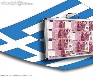 Close up of money case on greek flag