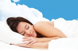 Gril sleeping on clouds