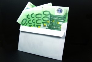 Euros in an envelope.