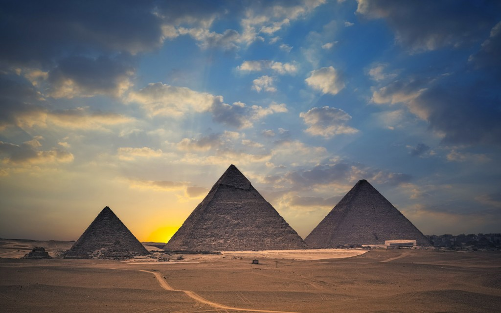Pyramids of Giza at sunset, Cairo, Egypt