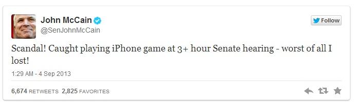 mccain Tase: senaator mängis Süüria teemalise istungi ajal pokkerit