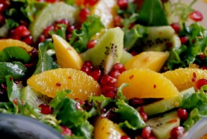 Pomegranate-Orange-Papaya-and-Kiwi-Green-Salad