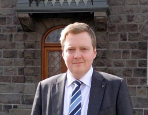 Sigmundur Gunnlaugsson stands in front of the Althing, the country's parliament in Reykjavik
