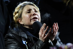 Ukrainian opposition leader Yulia Tymoshenko addresses anti-government protesters gathered in the Independence Square in Kiev