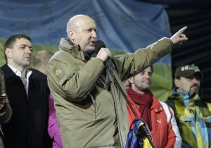 Acting President Turchinov speaks on the stage during a rally in Independence Square in Kiev