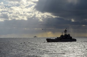 Vessels are seen during the joint war games Zapad-2013 at the Khmelevka range on Russia's Baltic Sea in the Kaliningrad Region