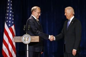 U.S. Vice President Biden meets Estonian President Hendrik Ilves in Warsaw