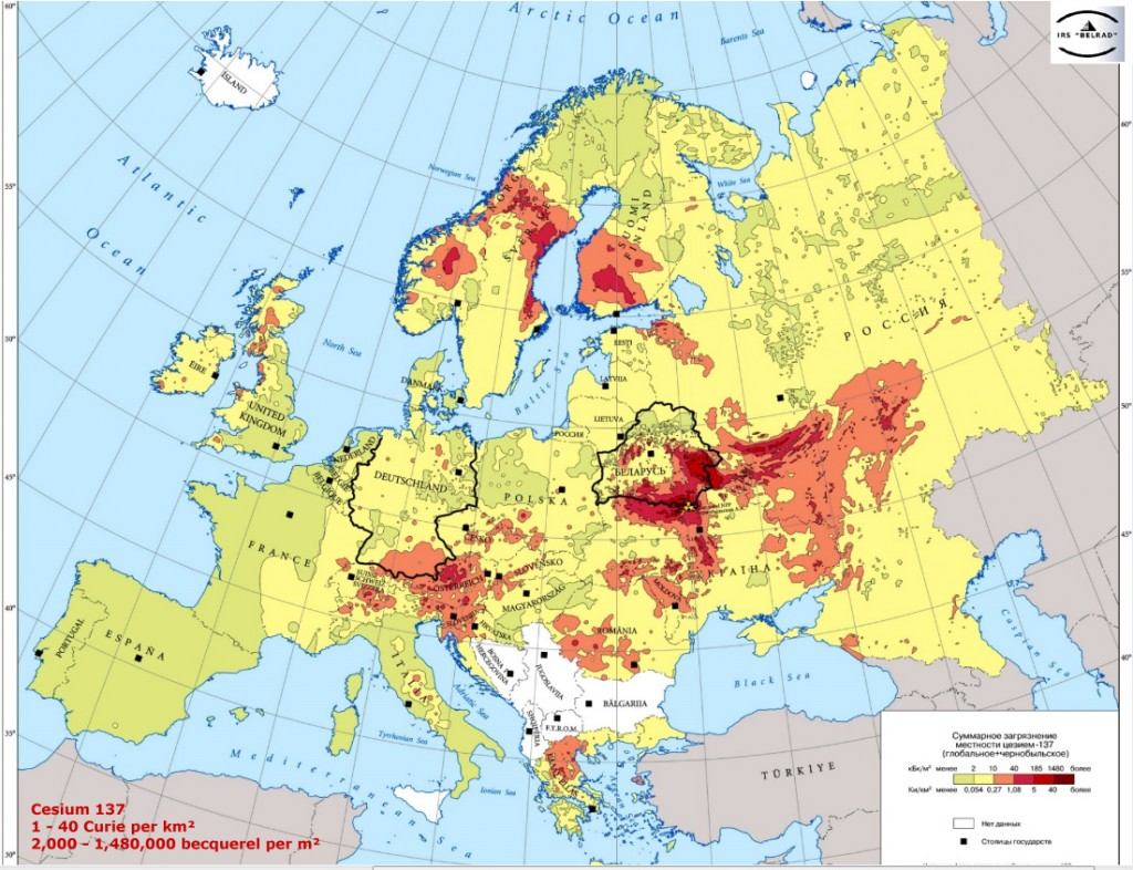Europe Fallout Cs 137 chernobyl