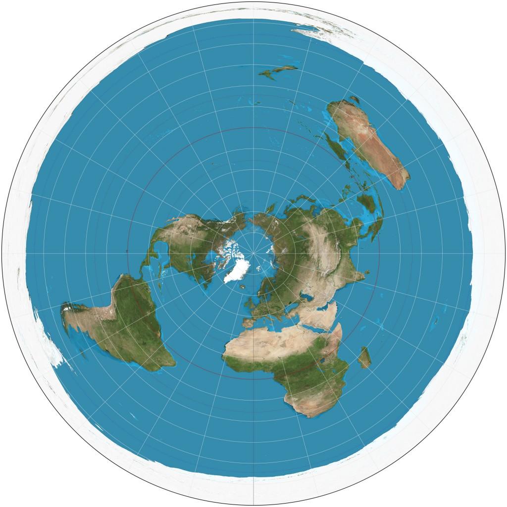 USGS kasutab USA riiklikus atlases asimuut-projektsiooniga maailmakaarti