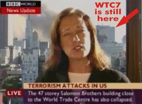 BBC korrespondent Jane Stanley otse-eetris rääkimas, et WTC 7 on kokku kukkunud, 15 minutit enne varingut