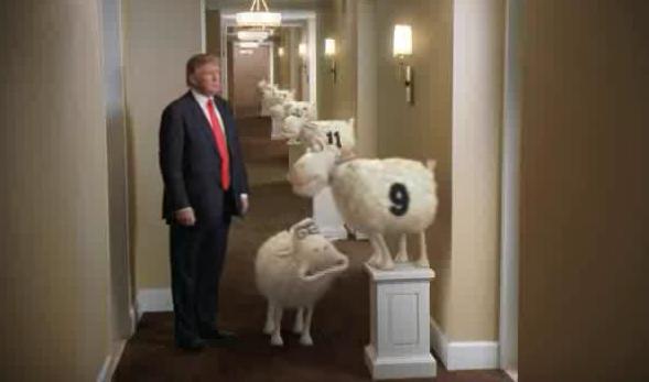 Trump jalutab hotelli koridoris, kus on toad 9 ja 11 ning lambad, kelle peale on kirjutaud 9 ja 11