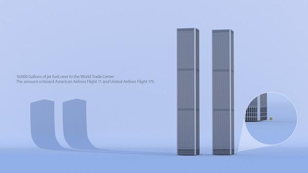 WTC kaksikute kõrval on väikeste kollaste ruutudena näha tornidesse lennanud lennukites olnud kütuse kogus.