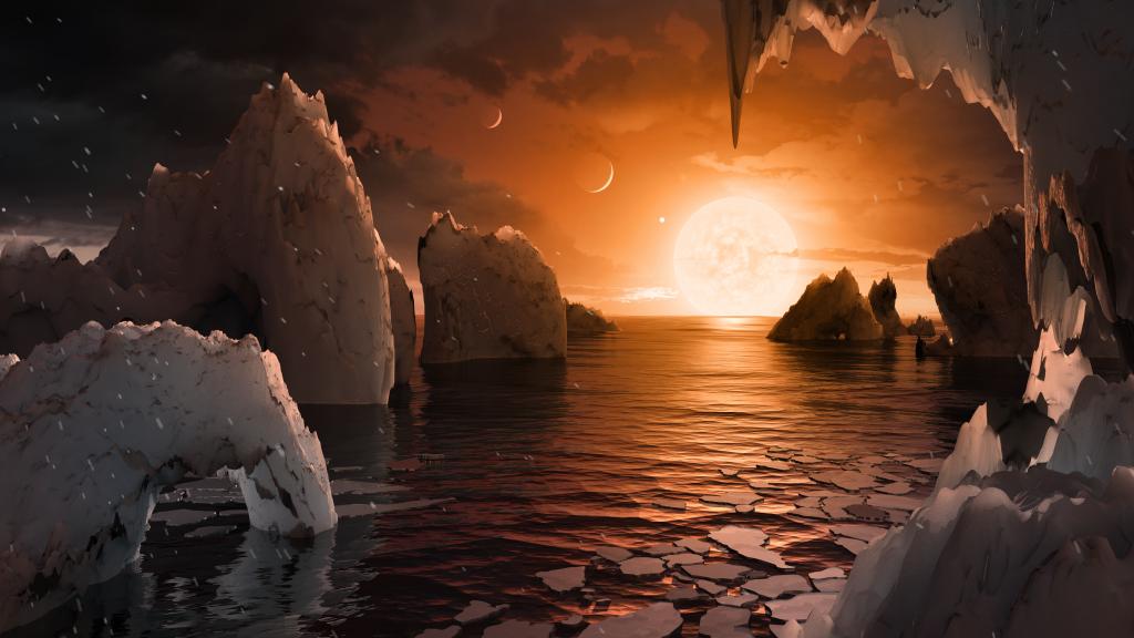 Kunstniku nägemus, milline oleks vaade TRAPPIST-1 tähesüsteemi viiendalt planeedilt. Foto: NASA/JPL